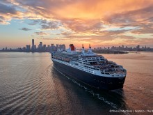 "17_048531   © Th.Martinez / Sea&Co. NEW YORK CITY - USA , 1er Juillet 2017. ""QUEEN MARY 2"" arrivant à New York (USA)."